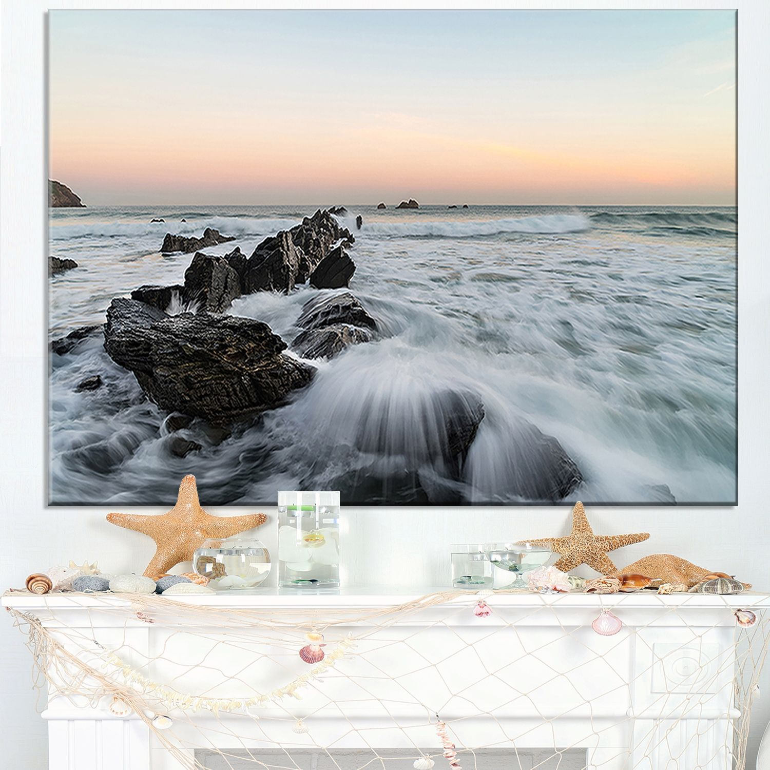 Bay of Biscay White Waves Hitting Beach - Contemporary Seascape Art