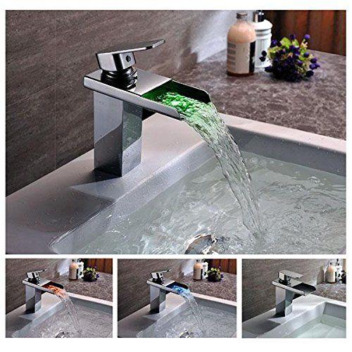 Facilla Led Wasserfall Wasserhahn Armatur Einhebelmischer G1 2 Badezimmer Waschtisch Facilla Waschbecken Armaturen Moderne Badarmaturen Wasserfall Wasserhahn