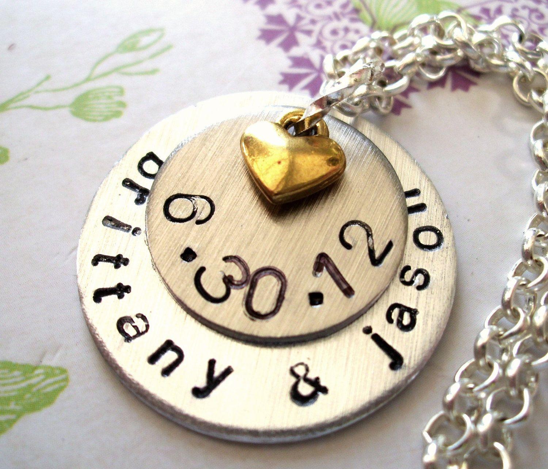 Wedding Necklace, Wedding Date Necklace, Anniversary Necklace, Personalized Necklace, Anniversary Jewelry, Wedding Jewelry. $27.00, via Etsy.