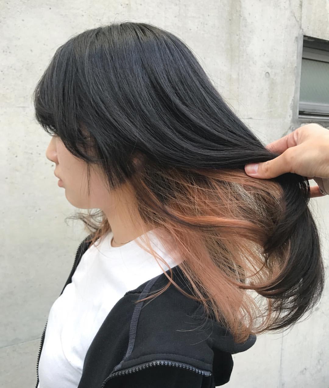インナーカラー オレンジ ベージュ 髪色 オレンジ オレンジ ヘア