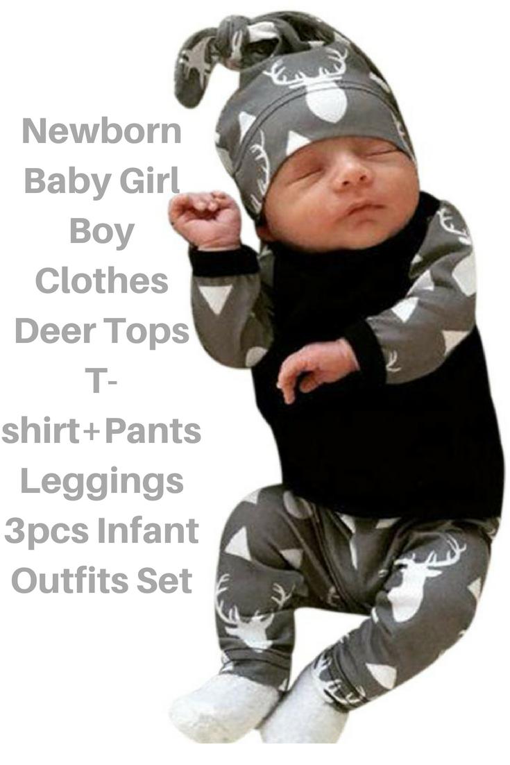 75b33ad3c1b3 Newborn Baby Girl Boy Clothes Deer Tops T-shirt+Pants Leggings 3pcs ...