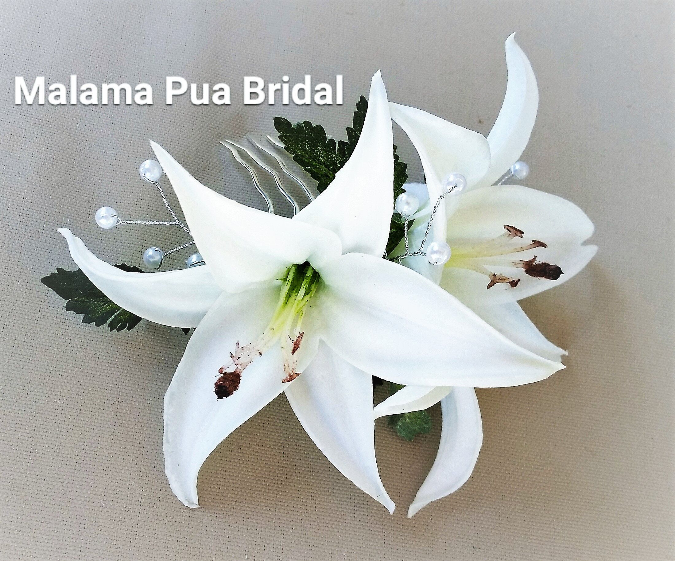Bridal Headpiece White Lily Hair Accessory Tropical Clip Real Touch Flowers Wedding Hawaiian Beach By