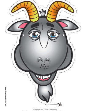 This Gray Goat Mask Has Two Horns Blue Eyes And A Little Beard Next Time You Dress Up As Billy Give Try Free To Download Print