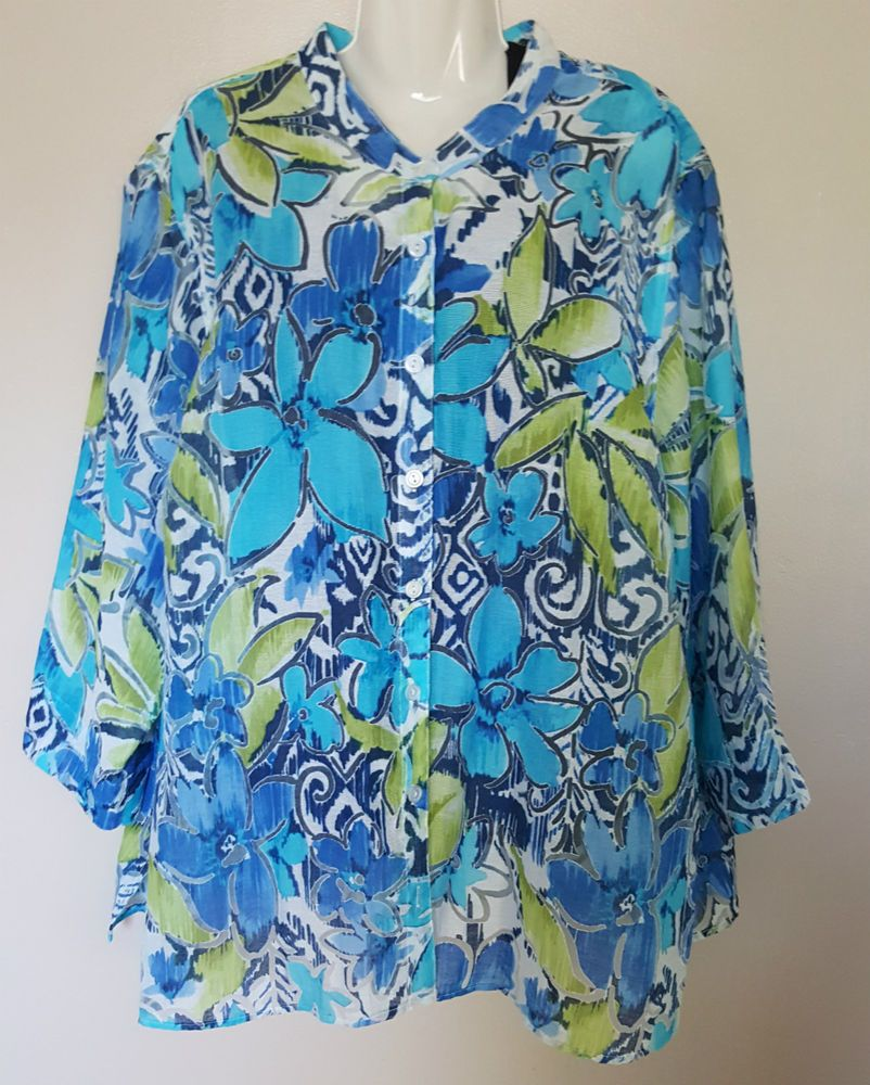 Alfred Dunner Plus Size 24W Multi-color Floral Print Burnout Over-shirt Blouse #AlfredDunner #ButtonDownShirt #Casual