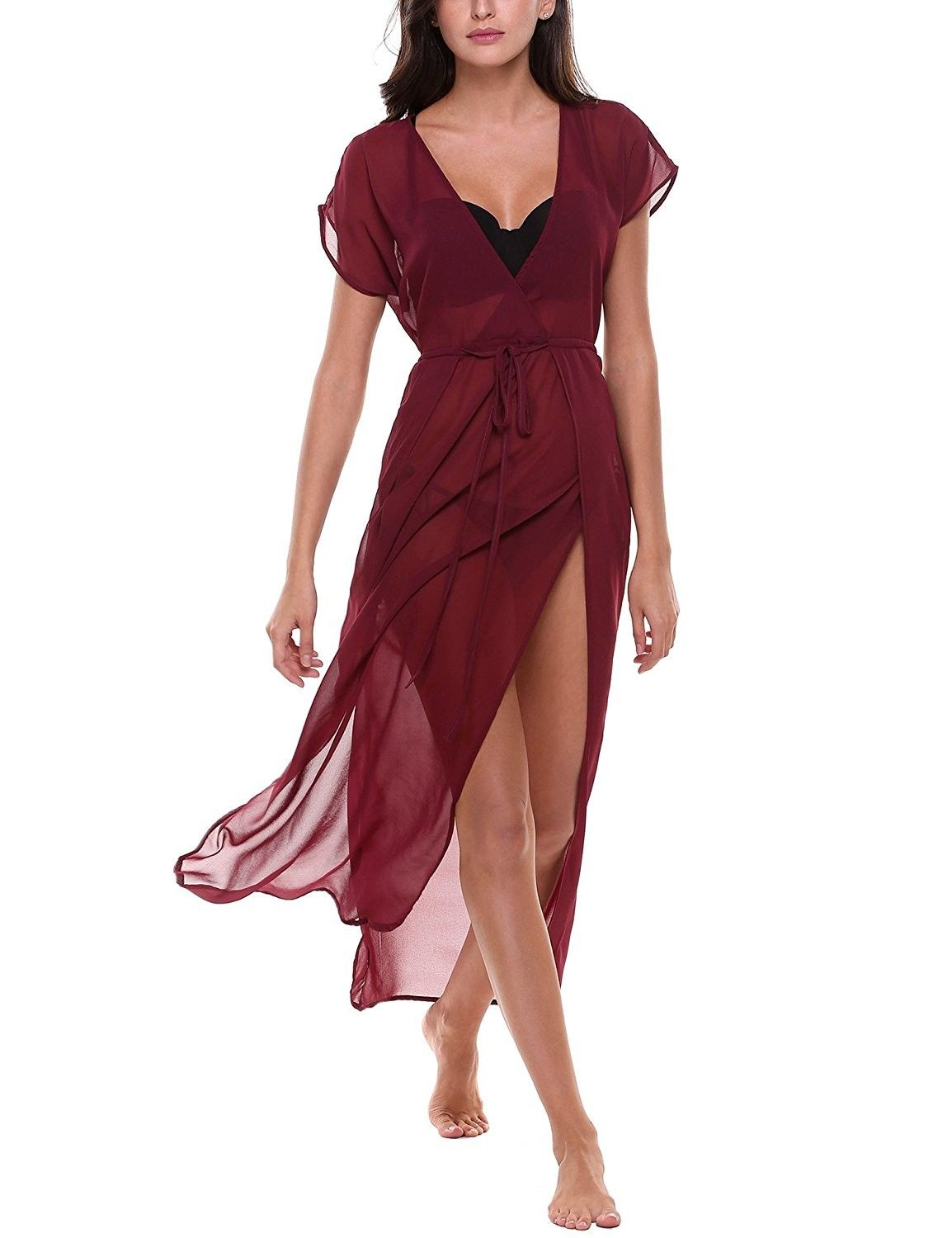 7ed378fe9c988 Chiffon See-Through Deep V-Neck Side Slits Bikini Cover Up Maxi Beach Dress  With Belt - A-wine Red - C5184HLD924,Women's Clothing, Swimsuits & Cover  Ups, ...