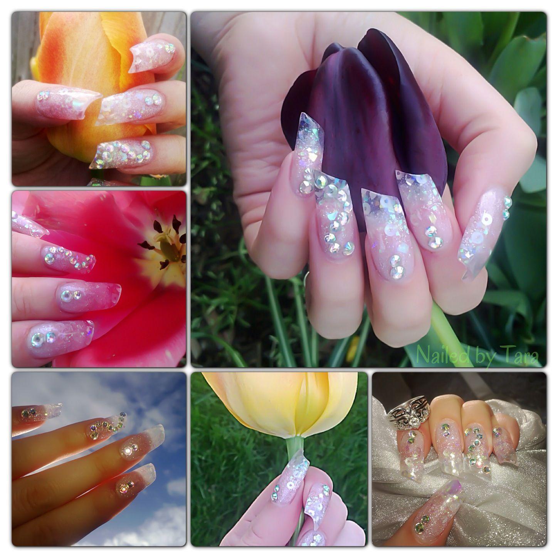 Lipstick Shape All Diffe Types Of Silver White And Iridescent Glitters Confetti With Rhinestones