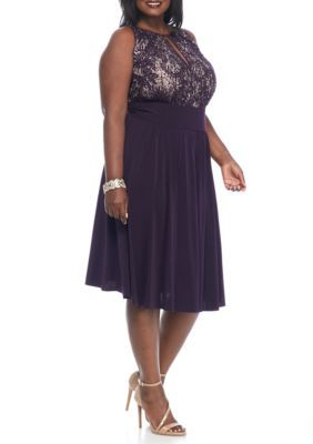 9f1117ec7f4 RM Richards Plus Size Lace and Sequin Bodice Cocktail Dress ...