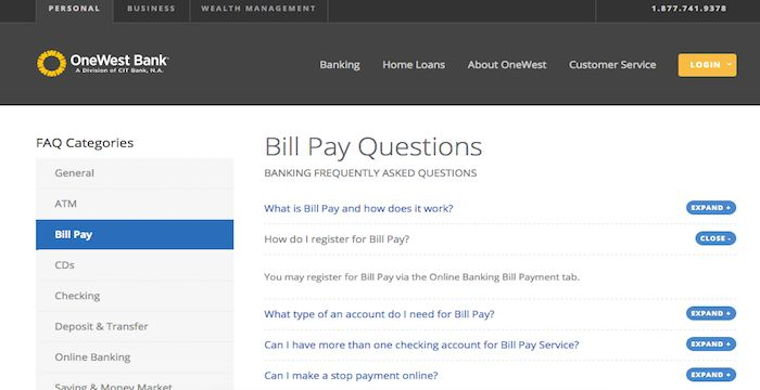 Onewest Bank Bill Pay Online Login Customer Service Amp Sign In Paying Bills Bank Bill