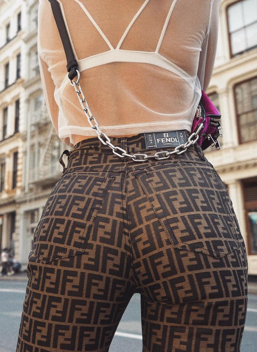 e242b9e76054 fendi zucca print pants vintage fendi mesh top strappy bralette alexander  wang belt bag
