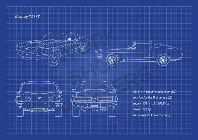Mustang 1967 gt fastback horizontal blueprint poster black and cars mustang 1967 gt fastback horizontal blueprint by workshopposters malvernweather Image collections