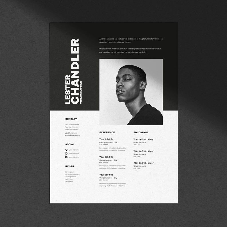 CV / Resume template with cover letter for Word Indesign