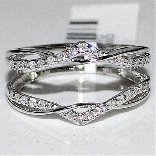 real diamond jacket enhancer ring guard 27ct 14k white gold new rings midwestjewellery - Wedding Ring Guards