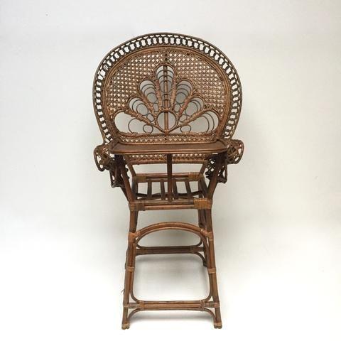 Vintage Boho Wicker High Chair Chaise Haute Vintage Rotin Boheme