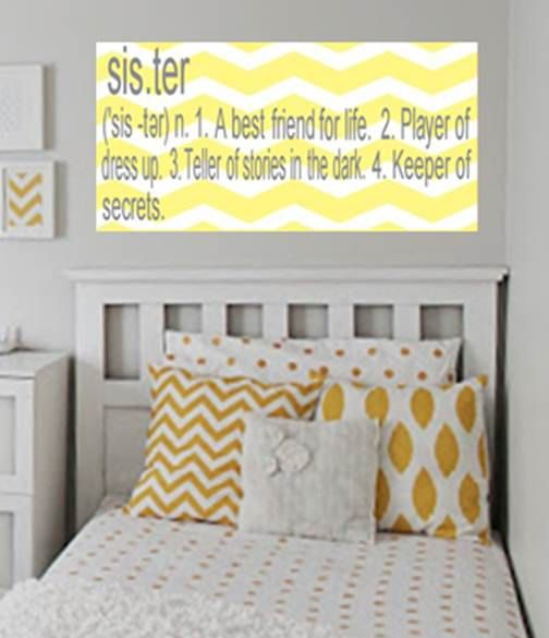 Chevron Sister sibling plaque wooden wall sign