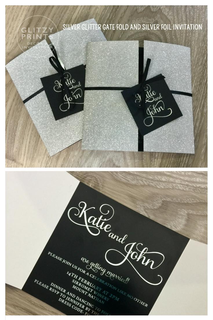 Black And Silver Foil Wedding Invitation Silver Glitter Invitation
