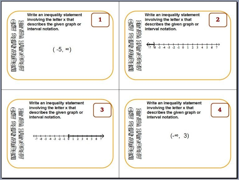 Inequalities And Absolute Value Task Cards Print Them Out On Card Stock Laminate The Sheets Pass Them Ou Absolute Value Kids Learning Compound Inequalities