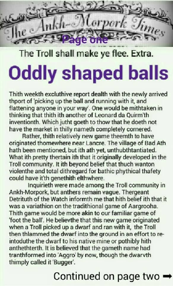 The Ankh-Morpork Times. The Troll shall make ye flee. Extra.  Oddly shaped balls. page one. by David Green.