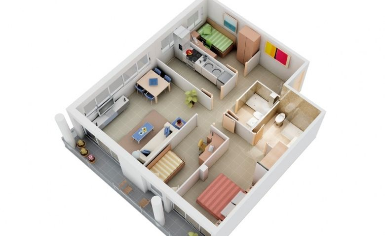 Simple 3d small house floor plans with 3 bedroom 2015 for Inside 4 bedroom house