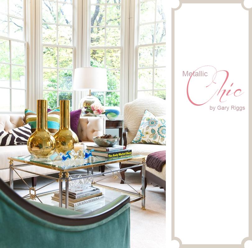 Metallic Chic Gold Vase Living Room Design Coffee Table