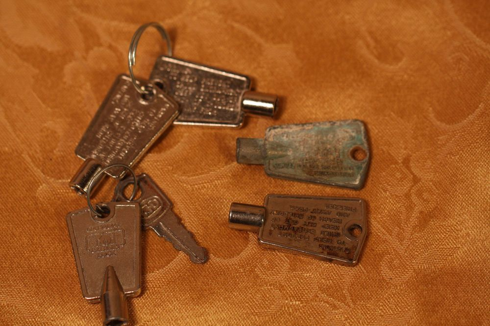 Lot Of 6 Vintage National Cabinet Lock Freezer Keys Steam Punk