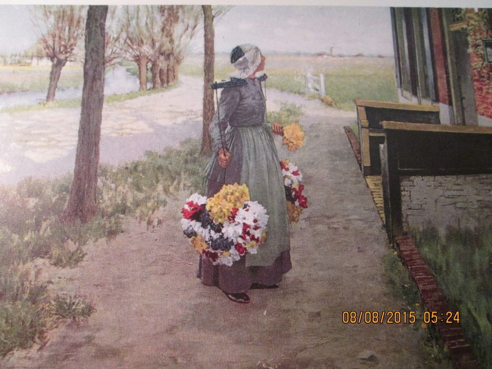 Vintage Dutch Lady Selling Flowers Print/Holland by Geo