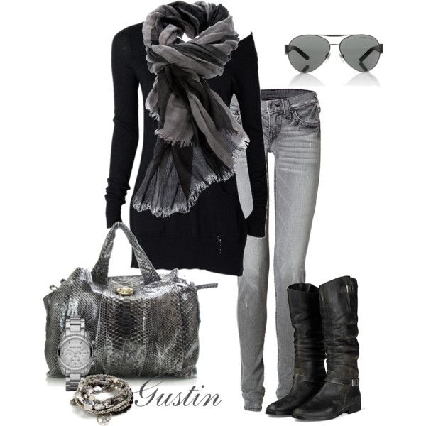 Gray Skinny Jeans Created By Gustinz.polyvore.com | LookBook | Pinterest | Bags Grey And Style