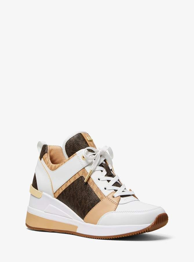 7e17530c7789 MICHAEL Michael Kors Georgie Logo and Leather Trainer in 2019 ...