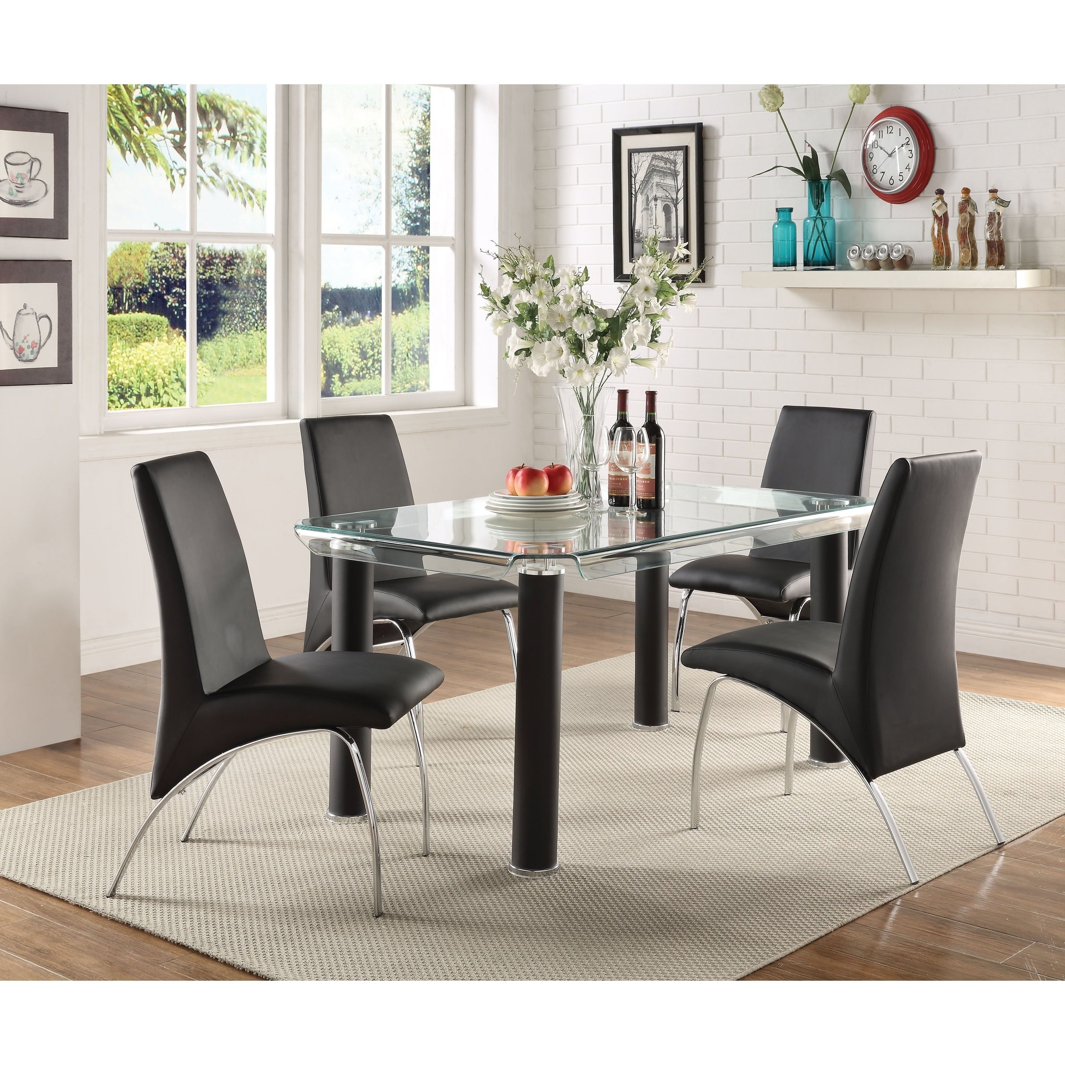 Leatherette Upholstered Side Chairs With Metal Base Black And Silver Set Of Two Benzara Side Chairs Dining Side Chairs Upholstered Dining Chairs