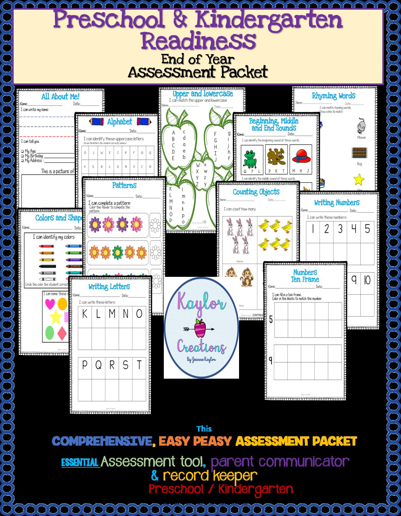 Preschool Assessment Amp Kindergarten Readiness Packet