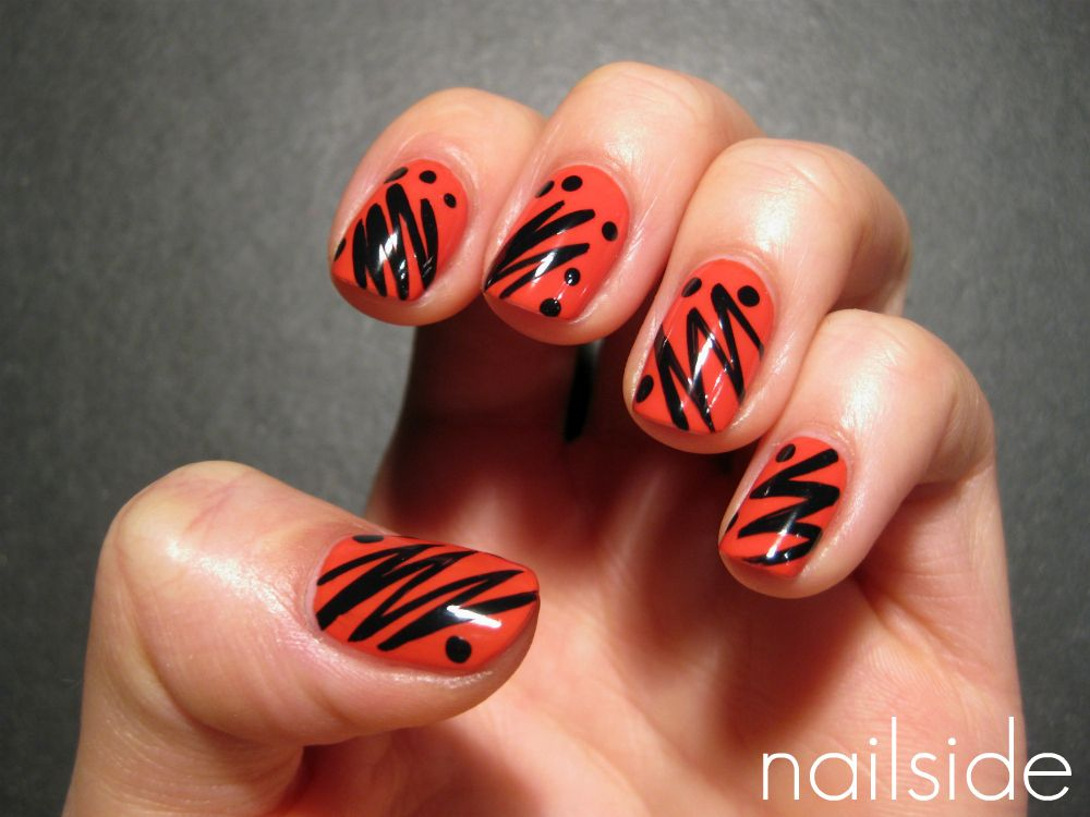 Trendy red nail art design with black zig zag stripe and dottes trendy red nail art design with black zig zag stripe and dottes prinsesfo Choice Image