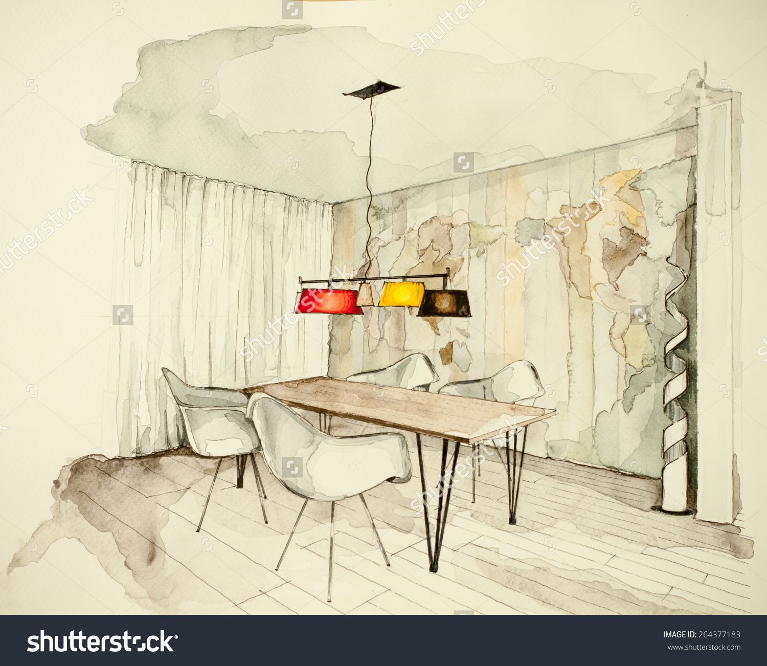 Watercolor And Ink Freehand Sketch Drawing Of Apartment Flat Dining