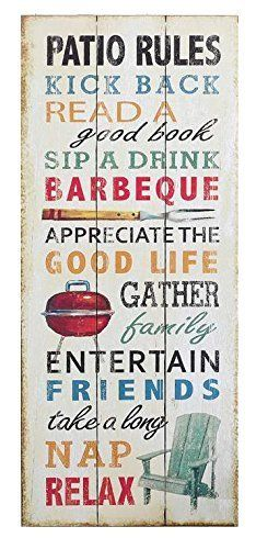 Funny Weathered Wood Sign With Patio Rules Patio Signs