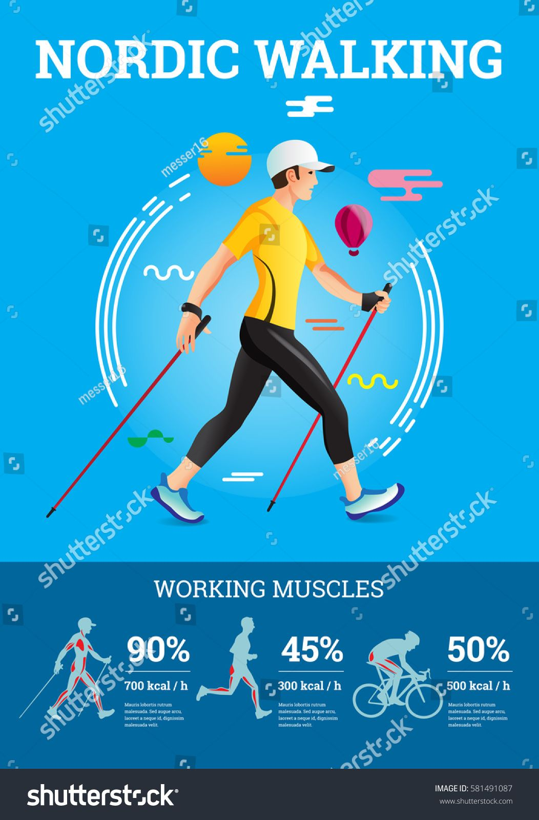 Vector Illustrated Infographics Poster For Nordic Walking The