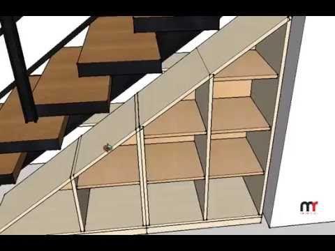 Mueble para organizar debajo de escalera deslizable en for Mueble bajo escalera