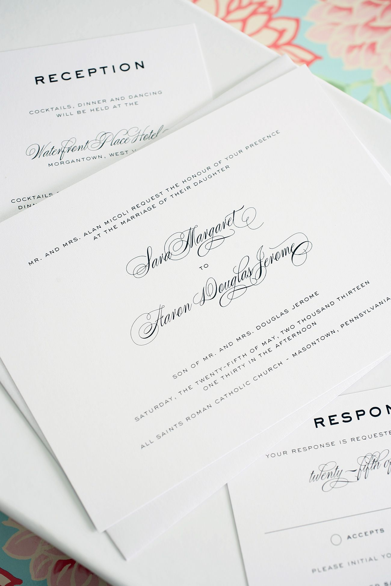 Wedding Invitations with a Timeless Script Font | Wedding ...