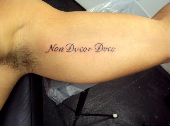 Tatuagem Escrita Frases Latim Braço Bíceps Tattoo
