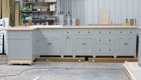 Light Grey Kitchen Cupboard Paint And Wooden Island Cart With Pine - Light grey kitchen units