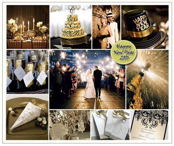 new years eve wedding theme inspiration board happy new year black gold