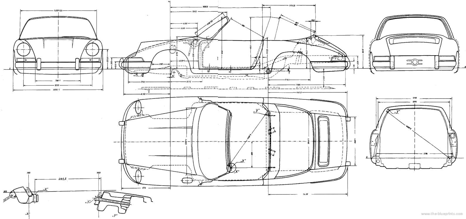 porsche 911 targa technical drawings race cars drag race cars architectural drawings [ 1590 x 749 Pixel ]