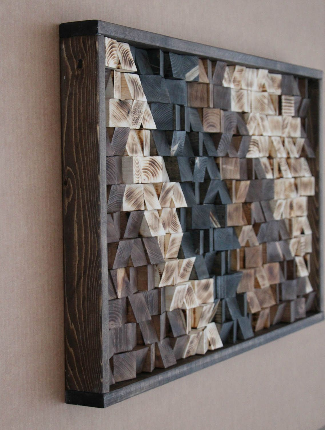 Large Reclaimed Wood Wall Art, Wood Wall Decor, Headboard, Geometric  Pattern, Wood