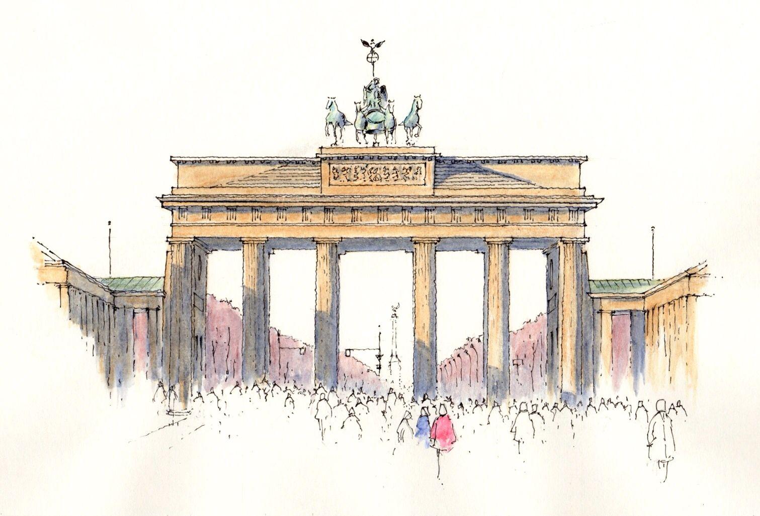 Brandenburg Gate Sketch John Edwards Travel Painting Urban Sketching Brandenburg Gate