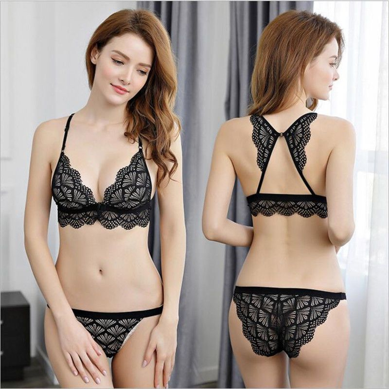 f19cf4bc20 Lace Bra Set Sexy Women Butterfly Back Design Front Closure Underwear  LFS   BraSets