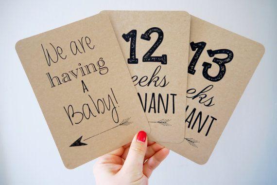 Erfassen Sie alle der Meilenstein Momente von während der gesamten Schwangerschaft mit diesen Karten ab Ihre Schwangerschaft Ankündigung bis zu