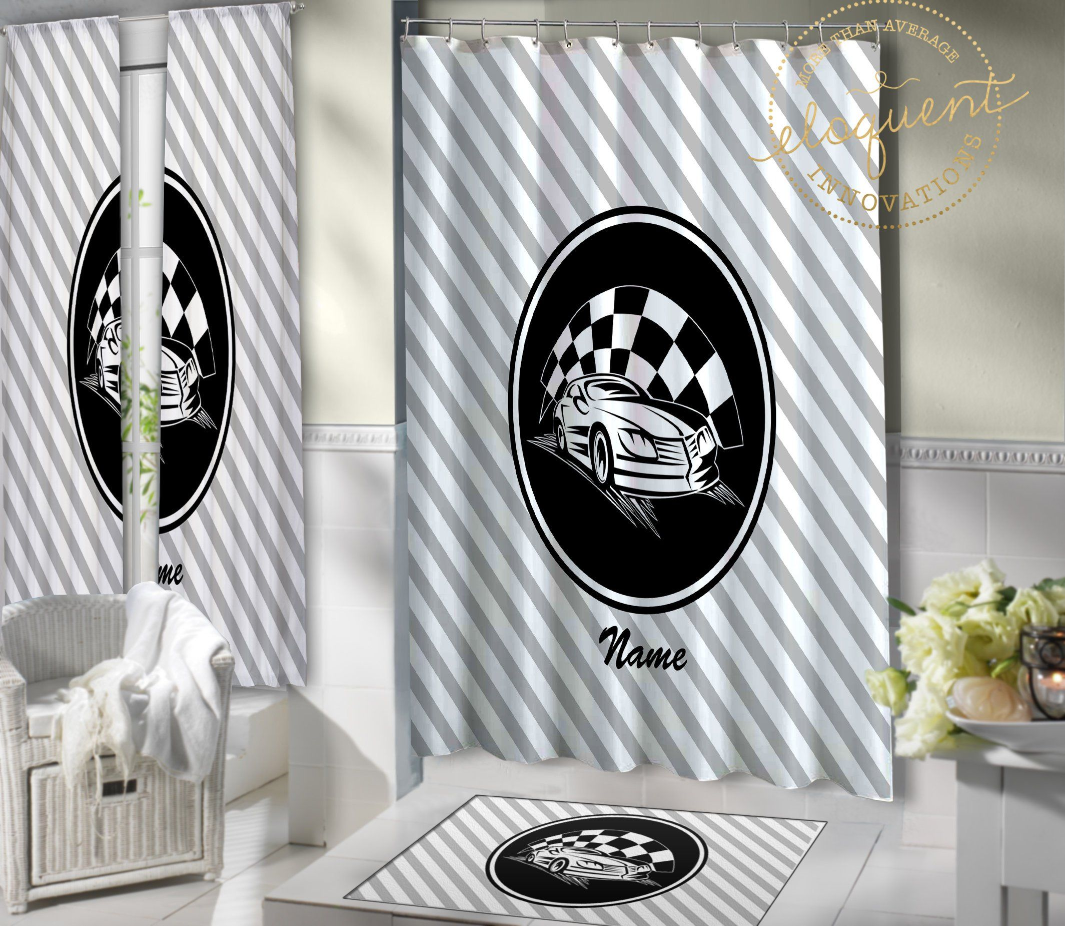 Race Car Shower Cutain Personalized With Name Car Racing Decor