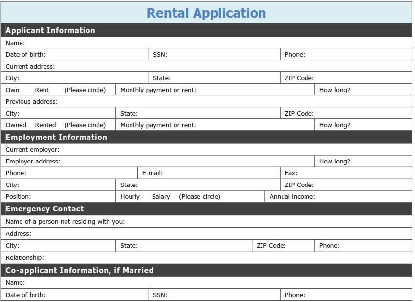 Free Printable Rental Application Template  Tags Printable Pdf