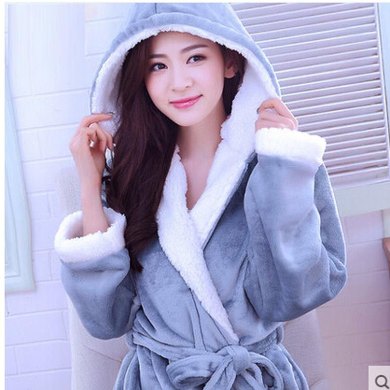 a3beb459b6 Flannel Hooded Couples Bathrobes Women s Robes Winter Dressing Gowns For  Women Men Female nightgowns Kimono Robe Home Clothes
