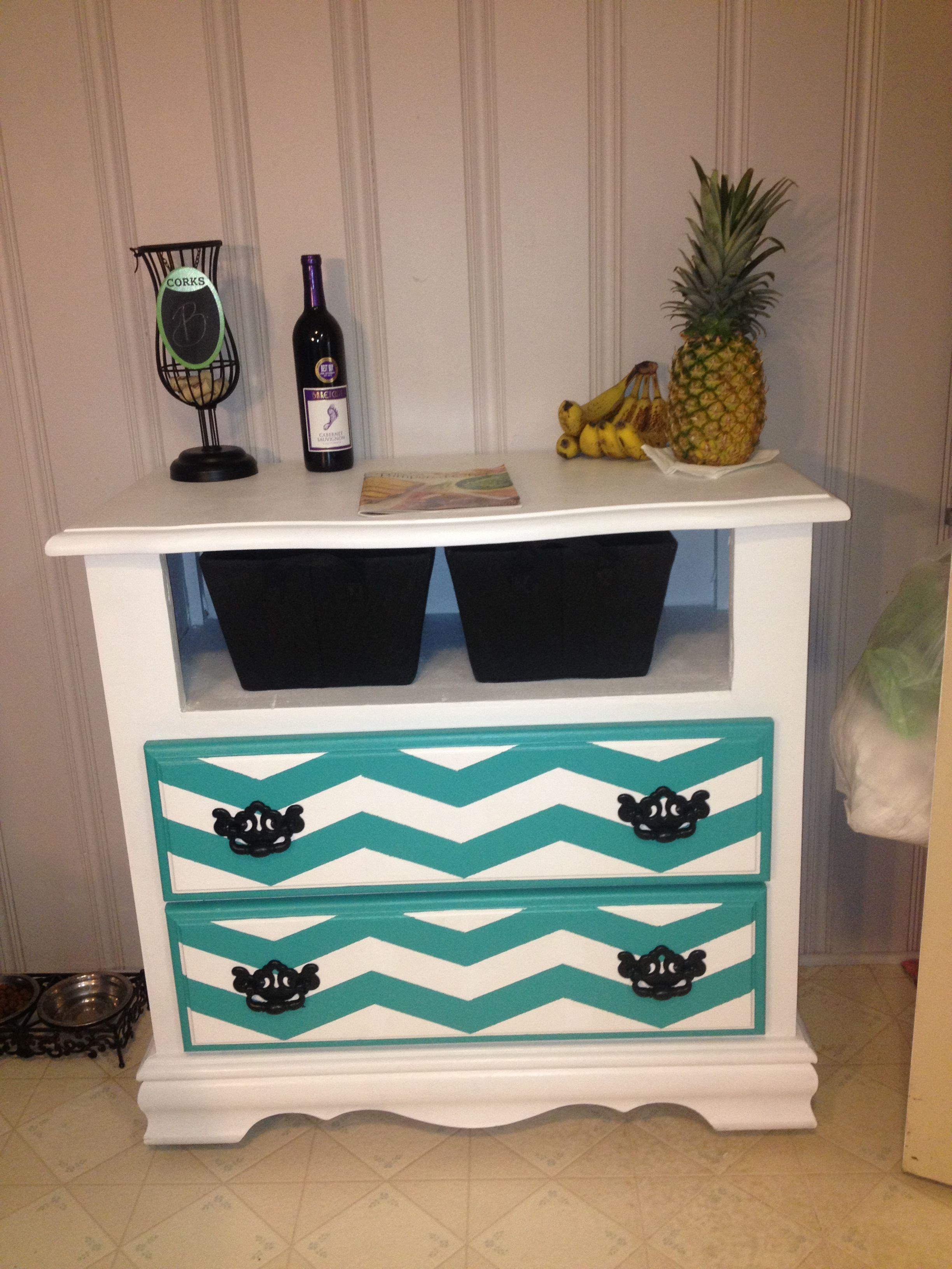 Chest of drawers turned kitchen cart diy repurposed chevronlove