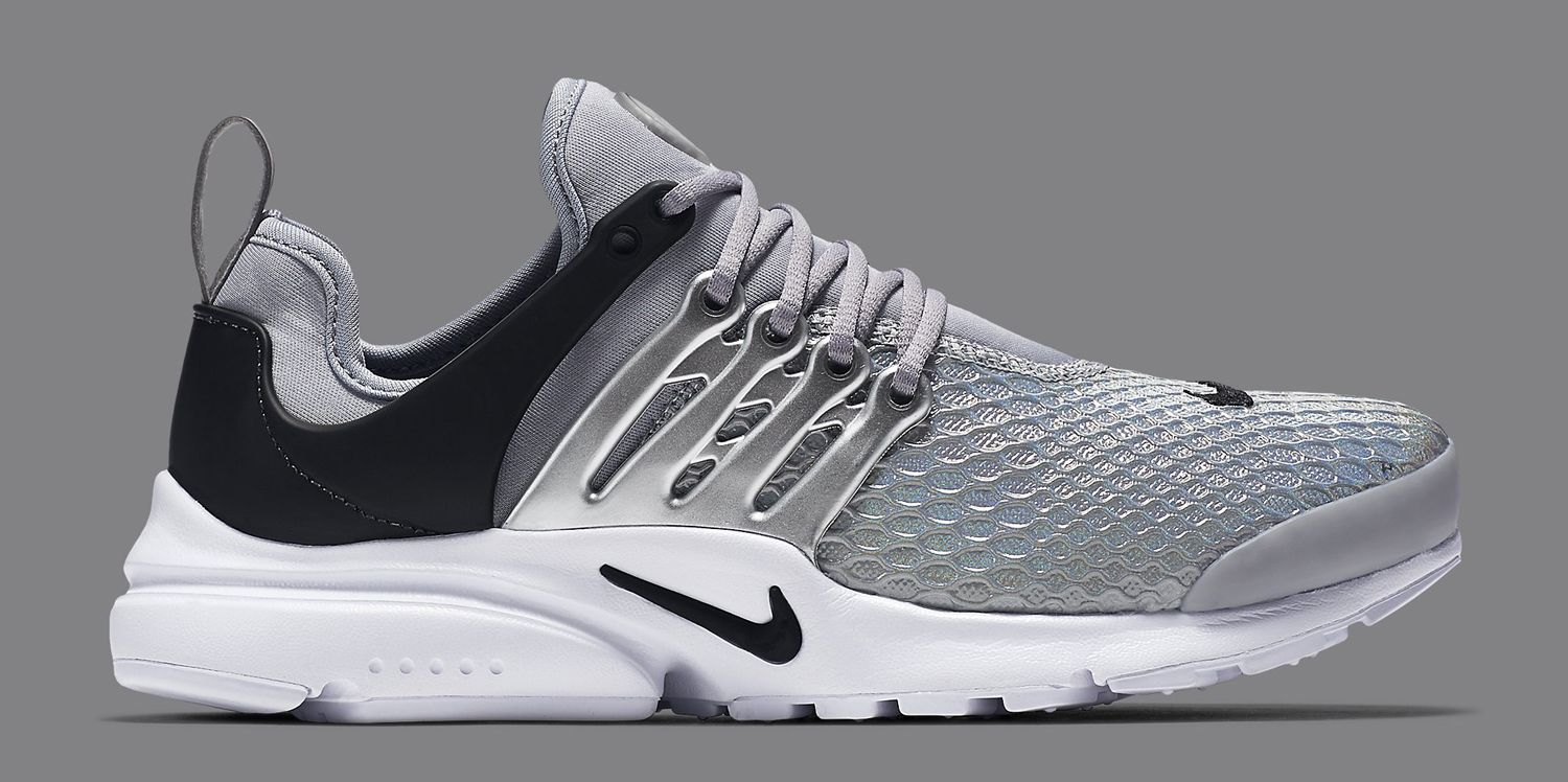 new concept a12a9 891be Silver Nike Air Presto Lateral Side