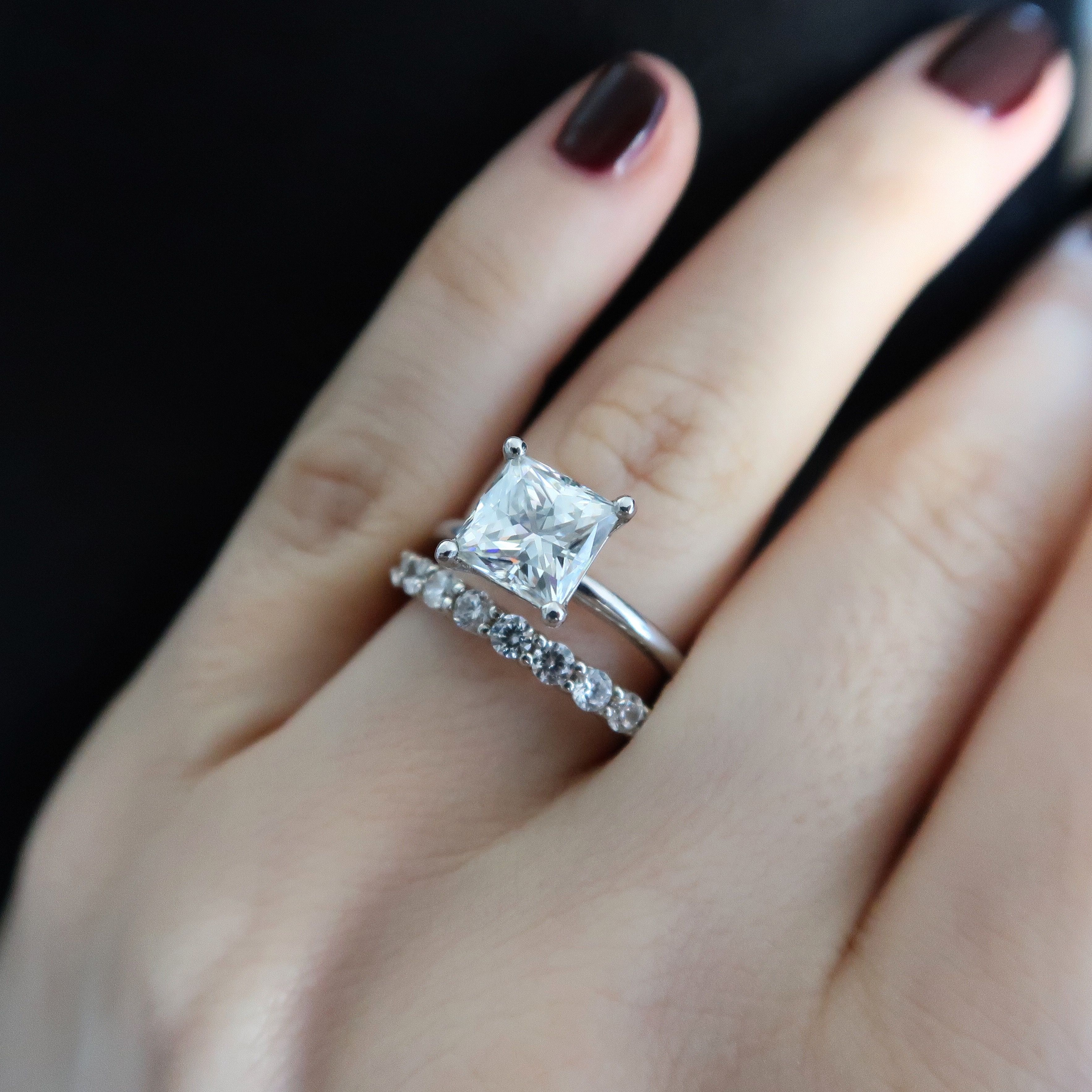 8460cbafc Princess cut Moissanite bridal set. White gold. Solitaire. 2 ct. NEO  moissanite. Square cut.