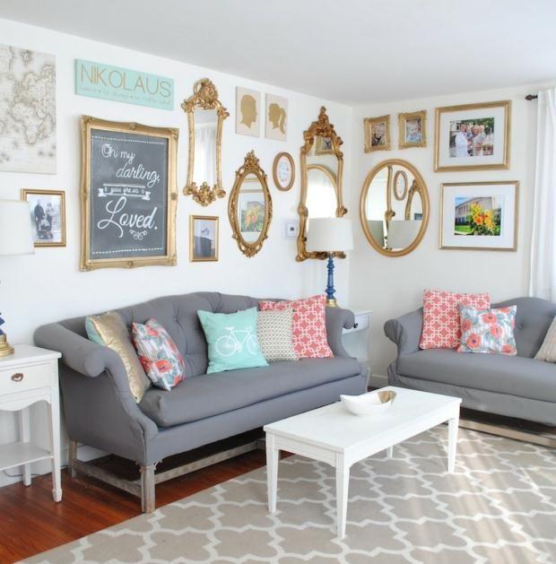 Fotowand kreative Idee Wohnzimmer gestalten Spiegel  Home